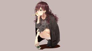 Rating: Safe Score: 114 Tags: blue_eyes brown_hair drink gray hamada_(super_tachioyogi_kyousou) ichinose_shiki idolmaster idolmaster_cinderella_girls User: mattiasc02