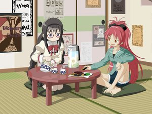 Rating: Safe Score: 49 Tags: 2girls akemi_homura barefoot black_hair bow braids brown_eyes drink food glasses headband long_hair mahou_shoujo_madoka_magica purple_eyes red_hair sakura_kyouko seifuku User: Charly