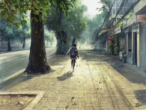 Rating: Safe Score: 115 Tags: motorcycle original scenic tagme_(artist) tree vespa User: FoliFF