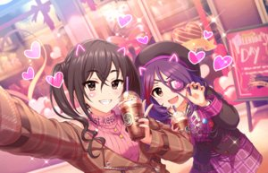 Rating: Safe Score: 30 Tags: 2girls annin_doufu black_hair brown_eyes close drink eyepatch fang hat hayasaka_mirei heart idolmaster idolmaster_cinderella_girls idolmaster_cinderella_girls_starlight_stage long_hair necklace purple_hair short_hair sunazuka_akira twintails valentine User: otaku_emmy