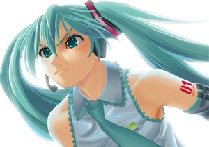 Rating: Safe Score: 15 Tags: aqua_hair close hatsune_miku headphones tie twintails vocaloid white User: HawthorneKitty