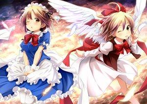 Rating: Safe Score: 104 Tags: 2girls ayase_midori feathers gengetsu maid mugetsu_(touhou) touhou wings wink User: Wiresetc