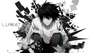 Rating: Safe Score: 47 Tags: all_male black_hair death_note l male monochrome tagme_(artist) third-party_edit User: mattiasc02