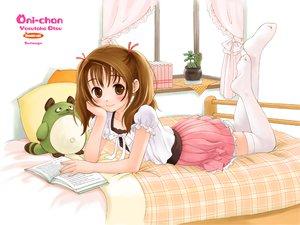 Rating: Safe Score: 23 Tags: bed blush brown_eyes brown_hair loli thighhighs twintails watermark User: Oyashiro-sama
