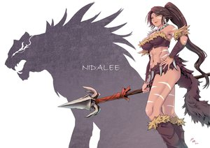 Rating: Safe Score: 200 Tags: boots brown_hair cleavage green_tear jpeg_artifacts league_of_legends long_hair navel necklace nidalee ponytail skirt spear weapon yellow_eyes User: w7382001