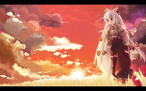 Rating: Safe Score: 76 Tags: aya_(star) bow clouds flowers fujiwara_no_mokou grass long_hair red_eyes sky sunset touhou white_hair User: STORM