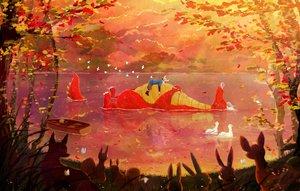 Rating: Safe Score: 20 Tags: all_male animal ao_(aohari) bird boat dragon fox leaves male original tree water User: FormX