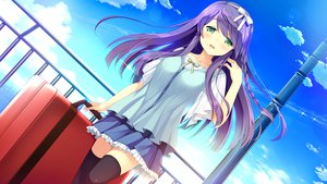 Rating: Safe Score: 115 Tags: blush braids clouds daikou_wakako game_cg green_eyes headband hearts_(company) koi_saku_miyako_ni_ai_no_yakusoku_wo_~annaffiare~ long_hair natsume_eri purple_hair skirt sky thighhighs User: C4R10Z123GT