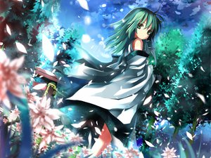 Rating: Safe Score: 76 Tags: clouds flowers forest green_eyes green_hair japanese_clothes kochiya_sanae long_hair miko petals shino_(eefy) sky touhou User: w7382001