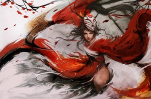 Rating: Safe Score: 136 Tags: akali black_hair horns japanese_clothes league_of_legends mask muju petals ponytail realistic weapon User: Flandre93