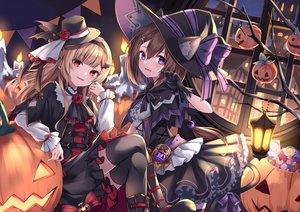 Rating: Safe Score: 49 Tags: 2girls halloween hat kure~pu original pumpkin thighhighs witch_hat User: BattlequeenYume