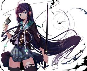 Rating: Safe Score: 259 Tags: headphones katana machimura_komori original phone school_uniform sword weapon User: Flandre93