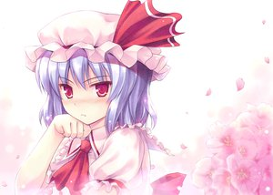 Rating: Safe Score: 113 Tags: blue_hair blush close fang flowers hat petals red_eyes remilia_scarlet touhou vampire User: Maboroshi