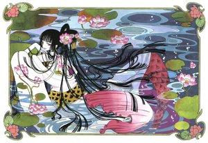 Rating: Safe Score: 26 Tags: black_hair clamp flowers ichihara_yuuko japanese_clothes long_hair pink_eyes water xxxholic User: Oyashiro-sama