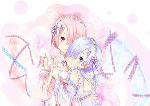Rating: Safe Score: 65 Tags: asa_hiro blue_eyes blue_hair blush dress pink_eyes pink_hair polychromatic ram_(re:zero) rem_(re:zero) re:zero_kara_hajimeru_isekai_seikatsu short_hair twins User: RyuZU