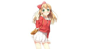 Rating: Safe Score: 137 Tags: azuki_azusa blonde_hair blush bow green_eyes hentai_ouji_to_warawanai_neko kantoku key scan skirt third-party_edit white User: Dummy