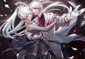 Rating: Safe Score: 42 Tags: 10juu breasts cleavage dress gloves long_hair male necklace ponytail rwby see_through short_hair suit thighhighs tie watermark weiss_schnee white_hair whitley_schnee User: RyuZU