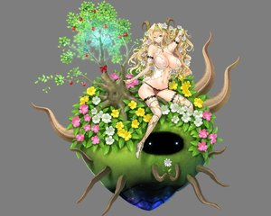 Rating: Questionable Score: 86 Tags: blonde_hair breasts cleavage erect_nipples flowers green_eyes headband horns long_hair navel necklace no_bra ogin_bara one-up panties pointed_ears see_through tagme thighhighs transparent tree underwear wink User: Wiresetc