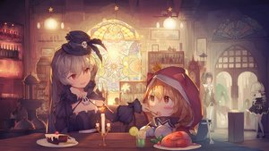 Rating: Safe Score: 55 Tags: black_hair blush brown_eyes brown_hair cake drink fang feathers flowers food goth-loli gray_hair group hat kaku-san-sei_million_arthur loli lolita_fashion long_hair red_eyes ribbons thighhighs twintails waitress white_hair yong_mei-uta User: RyuZU