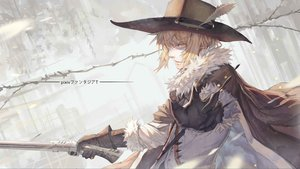 Rating: Safe Score: 101 Tags: all_male blonde_hair cape feathers gloves gun hat male original pixiv_fantasia weapon yellow_eyes zxq User: Flandre93