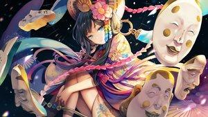 Rating: Safe Score: 89 Tags: aqua_eyes black_hair bow japanese_clothes long_hair menreiki_(onmyouji) onmyouji petals sibyl User: RyuZU