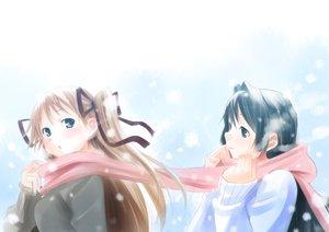 Rating: Safe Score: 65 Tags: blue_eyes blue_hair brown_hair kanon long_hair minase_nayuki sawatari_makoto scarf snow twintails wadapen User: opai
