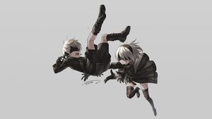 Rating: Safe Score: 45 Tags: blindfold boots dress gloves gray male nier nier:_automata sacanahen short_hair shorts signed stockings thighhighs white_hair yorha_unit_no._2_type_b yorha_unit_no._9_type_s User: Hakha