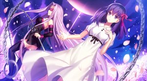 Rating: Safe Score: 55 Tags: 2girls blindfold bow breasts chain dress fate_(series) fate/stay_night fuyuki_(neigedhiver) long_hair matou_sakura petals purple_eyes purple_hair ribbons rider sideboob tattoo thighhighs User: RyuZU