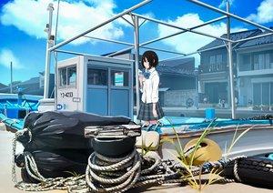 Rating: Safe Score: 31 Tags: black_eyes black_hair boat bow clouds jpeg_artifacts original sakeharasu seifuku short_hair skirt sky User: RyuZU