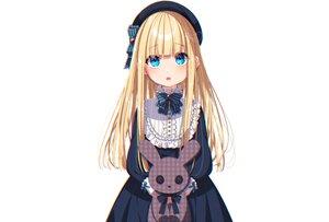 Rating: Safe Score: 80 Tags: aqua_eyes blonde_hair blush bow bunny dress fang goth-loli hat loli lolita_fashion long_hair mamyouda original signed white User: otaku_emmy