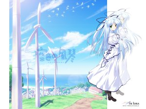 Rating: Safe Score: 6 Tags: animal bird blue_hair boots dress green_eyes kisaragi_sarasa long_hair ribbons sorairo_no_organ ueda_ryou windmill User: Oyashiro-sama