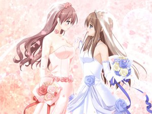Rating: Safe Score: 208 Tags: 2girls blush brown_hair flowers kitajima_kaede kitajima_sara long_hair peko shoujo_ai sono_hanabira_ni_kuchizuke_wo wedding wedding_attire User: Maho