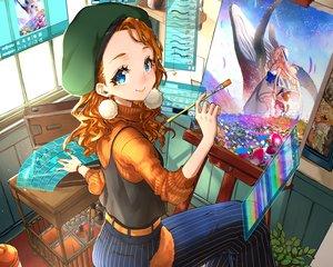 Rating: Safe Score: 24 Tags: aqua_eyes computer cropped hat mito_itsuki orange_hair original wristwear User: mattiasc02