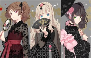 Rating: Safe Score: 99 Tags: aqua_eyes blonde_hair bow brown_hair chinese_clothes choker fan flowers gothic green_eyes hakusai headdress japanese_clothes kimono long_hair original pink_eyes ponytail ribbons twintails umbrella User: luckyluna