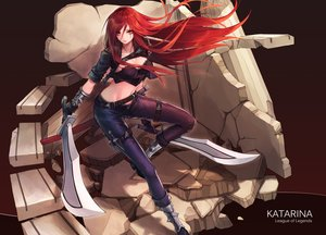 Rating: Safe Score: 146 Tags: curry_bowl katarina league_of_legends long_hair navel red_eyes red_hair sword weapon User: FormX