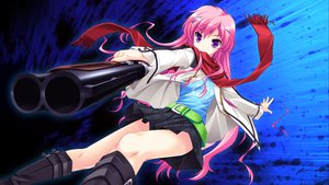 Rating: Safe Score: 69 Tags: game_cg gun long_hair makita_maki mukougaoka_kana pink_hair purple_eyes scarf shinigami_no_testament skirt weapon User: Wiresetc