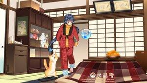 Rating: Safe Score: 35 Tags: animal aqua_eyes black_hair cat crystal_dew_world food japanese_clothes kirino_kasumu kotatsu suishou_shizuku watermark User: gnarf1975
