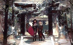 Rating: Safe Score: 57 Tags: 2girls hat japanese_clothes kimono kukka original scarf shrine torii umbrella User: FormX