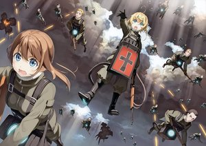 Rating: Safe Score: 72 Tags: 2girls aqua_eyes blonde_hair boots brown_hair clouds gloves group kantoku male military scan short_hair sky tanya_degurechaff uniform viktoriya_ivanovna_serebryakov youjo_senki User: RyuZU