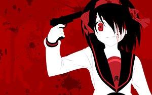 Rating: Safe Score: 56 Tags: blood gun red seifuku suzumiya_haruhi suzumiya_haruhi_no_yuutsu weapon zono_(rinkara-sou) User: Oyashiro-sama