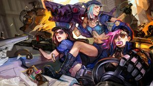 Rating: Safe Score: 72 Tags: blue_hair caitlyn jinx_(league_of_legends) league_of_legends pink_hair police vi_(league_of_legends) User: Seticus