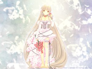 Rating: Safe Score: 51 Tags: barefoot blonde_hair chii chobits choker clamp dress feathers flowers garter lolita_fashion long_hair User: Oyashiro-sama