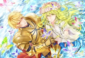 Rating: Safe Score: 11 Tags: all_male armor blonde_hair butterfly enkidu fate/grand_order fate_(series) gilgamesh gloves green_eyes green_hair headdress hongmao long_hair male red_eyes short_hair sword weapon User: RyuZU