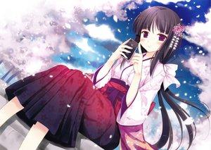 Rating: Safe Score: 94 Tags: black_hair ipod japanese_clothes ko~cha long_hair original petals purple_eyes yukata User: Wiresetc