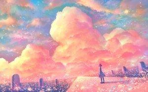 Rating: Safe Score: 35 Tags: bou_nin clouds dress original polychromatic scenic short_hair sky User: mattiasc02