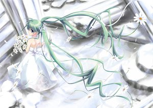 Rating: Safe Score: 55 Tags: blue_eyes bow dress flowers green_hair long_hair miyako910724 original petals ribbons twintails User: opai