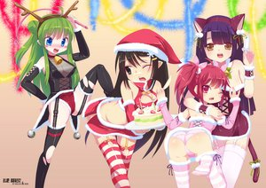 Rating: Questionable Score: 151 Tags: animal_ears bell black_hair blue_eyes blush bow breasts brown_eyes cake catgirl christmas cleavage food garter_belt green_hair hat long_hair mvv panties pointed_ears purple_hair red_eyes red_hair ribbons stockings tail thighhighs twintails underwear User: FormX