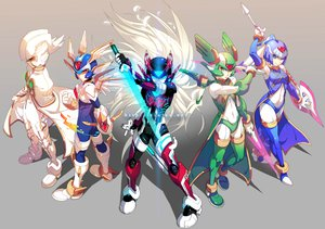 Rating: Safe Score: 69 Tags: armor capcom cape gray group rockman spear sword weapon User: Dragoonxxx