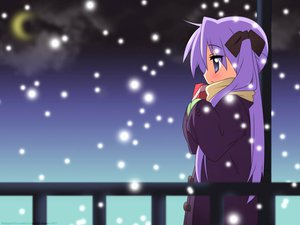 Rating: Safe Score: 31 Tags: hiiragi_kagami jpeg_artifacts lucky_star purple_eyes purple_hair ribbons snow vector watermark User: 秀悟