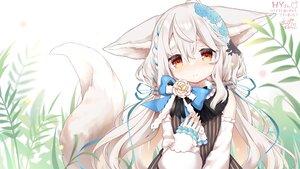 Rating: Safe Score: 34 Tags: animal_ears anzu_ame blush bow braids dress foxgirl gray_hair leaves long_hair original red_eyes ribbons sakurada_shiro signed tail waifu2x User: otaku_emmy